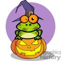 3223-Frog-With-A-Witch-Hat-In-Pumpkin