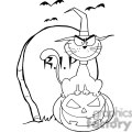 black cat sitting on top of a pumpkin in a graveyard