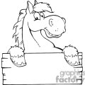 3362-Outlined-Happy-Cartoon-Horse-With-A-Blank-Sign