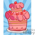 3495-Royalty-Free-RF-Clipart-Illustration-Pink-Two-Tiered-Cake