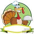 3510-Turkey-Chef-Serving-A-Platter-Over-A-Circle-And-Blank-Green-Banner