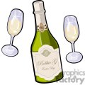 champagne bottle with glasses for new years
