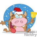 happy-calf-character-ringing-a-bell-christmas-in-the-snow  gif, png, jpg, eps, svg, pdf