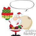 Santa-Holding-Up-A-Stack-Of-Gifts-With-Speech-Bubble