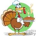 3530-Happy-Turkey-Chef-With-Pie vector clip art image