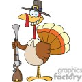 3519-Happy-Turkey-With-Pilgrim-Hat-and-Musket vector clip art image