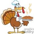 3528-Happy-Turkey-Chef-With-Pie vector clip art image