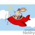 cartoon bunny flying a red airplane
