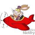 bunny rabbit flying a red plane