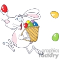 white bunny rabbit delivering eggs
