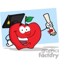 4280-Happy-Apple-Character-Graduate-Holding-A-Diploma