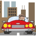 business man riding in a red convertible with yellow headlights gif, png, jpg, eps, svg, pdf