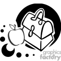 Black and white outline of a lunch box and apple