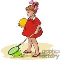 Cartoon girl with a butterfly net