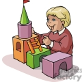 Cartoon boy building a castle