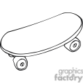 black and white outline of a skateboard