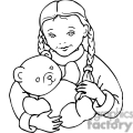 black and white outline of little girl with a teddybear