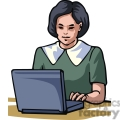Cartoon student typing on a laptop