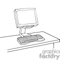 Black and white outline of a computer monitor and keyboard