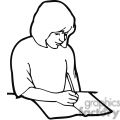 Black and white outline of a girl taking notes