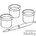 Black and white outline of a paintbrush and paint containers