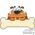cartoon dog with a big bone