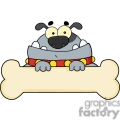 cartoon dog with huge bone