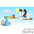 cartoon stork delivering a newborn