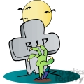 cartoon zombie crawling out of a grave