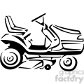black and white riding lawnmower