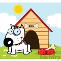 12819 rf clipart illustration smiling bull terrier with a bone in his dish outside his dog house  gif, png, jpg, eps, svg, pdf