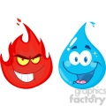 12863 rf clipart illustration flame and water  cartoon characters  gif, png, jpg, eps, svg, pdf