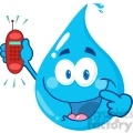 12858 RF Clipart Illustration Happy Water Drop Cartoon Character Holding A Telephone
