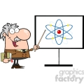 128312 RF Clipart Illustration Professor Pointing To An Atom Sign