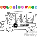 5054-Clipart-Illustration-of-Colornig-Page-School-BusWith-Happy-Children