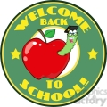 4951-Clipart-Illustration-of-Happy-Student-Worm-In-Red-Apple-And-Sticker-With-Text-Back-to-School