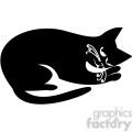 vector clip art illustration of black cat 054
