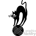 vector clip art illustration of black cat 025