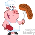 Happy Pig Chef Holding A Fork With Steak