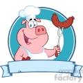 happy pig chef holding a sausage on fork over a blank banner gif, png, jpg, eps, svg, pdf