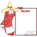 happy sausage with mexican hat showing menu gif, png, jpg, eps, svg, pdf