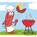 Happy Sausage Chef Cook At Barbecue