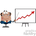 clipart of happy african american business manager with pointer presenting a progressive arrow