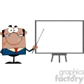 Clipart of Angry African American Business Manager With Pointer Presenting On A Board
