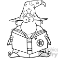 clipart of funny wizard holding a magic book  gif, png, jpg, eps, svg, pdf