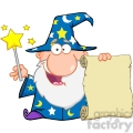 Royalty Free Funny Wizard Waving With Magic Wand And Holding Up A Scroll