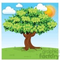 vector cartoon big tree on sunny day
