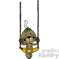 monkey on banana swing in color
