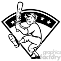black and white baseball player batting front kick diamond full