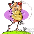 cartoon golfer swinging his club